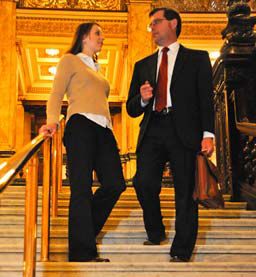 lawyer and client on court steps